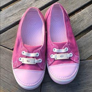 Girls canvas Crocs J2 pink with gold flecks